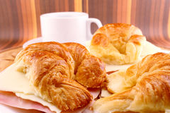 Breakfast Ham and Cheese Croissants Stock Images