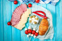 Breakfast with ham,cheese, Mozzarella, cherry tomatoes and croissant Stock Images