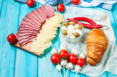 Breakfast with ham,cheese, Mozzarella, cherry tomatoes and croissant Royalty Free Stock Photo