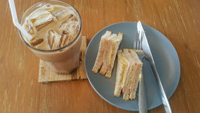 Breakfast. Ham cheese sandwich and iced mocha Stock Images