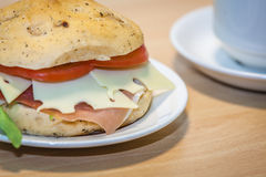 Breakfast ham, cheese and tomato bun Stock Photography