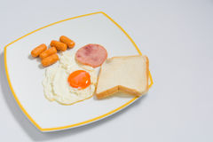 Breakfast with ham , fried eggs on white plate. for text Royalty Free Stock Images