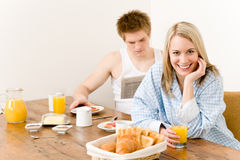 Breakfast happy couple enjoy romantic morning Stock Photography