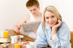 Breakfast happy couple enjoy romantic morning Royalty Free Stock Photos