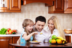 Breakfast of a happy family Royalty Free Stock Photo