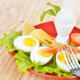 Breakfast with hard boiled eggs, sliced in halves, salad, tomatoes and cheese on the red plate Royalty Free Stock Image