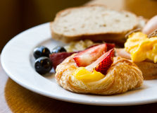 Breakfast. Healthy breakfast with bread, egg and strawberry stock photography