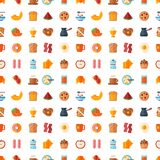 Breakfast healthy food meal icons seamless pattern background drinks flat design bread egg lunch healthy meat menu royalty free stock photos