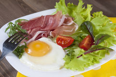 Breakfast. Healthy meat, egg and vegetables snack Stock Photo