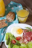 Breakfast. Healthy meat, egg and vegetables snack Stock Images