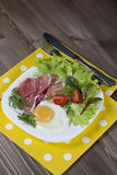 Breakfast. Healthy meat, egg and vegetables snack Royalty Free Stock Photography