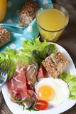 Breakfast. Healthy meat, egg and vegetables snack Royalty Free Stock Image