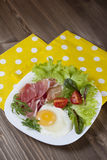 Breakfast. Healthy meat, egg and vegetables snack Stock Image