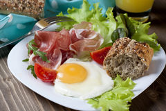 Breakfast. Healthy meat, egg and vegetables snack Stock Photos