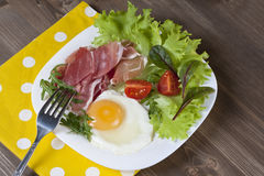 Breakfast. Healthy meat, egg and vegetables snack Royalty Free Stock Images