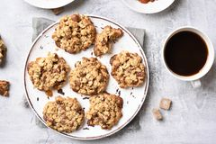 Healthy oatmeal cookies and coffee Royalty Free Stock Image