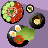 Breakfast. Healthy Breakfast with vegetables. Vector Illustration Royalty Free Stock Photography
