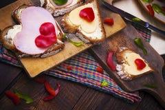 Breakfast hearts sandwiches boards food stock photos