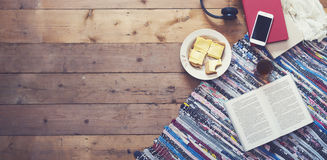 Breakfast hero header. Top view retro breakfast hero header on old wooden floor Royalty Free Stock Images