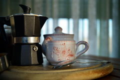 Breakfast at home. Have breakfast at home with coffee, milk and biscuits Stock Image