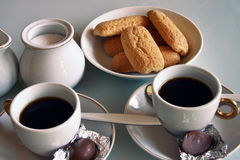 Breakfast at home. Have breakfast at home with coffee, milk and biscuits Royalty Free Stock Images