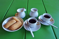 Breakfast at home. Have breakfast at home with coffee, milk and biscuits Stock Photo