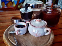 Breakfast at home. Have breakfast at home with coffee, milk and biscuits Royalty Free Stock Photography