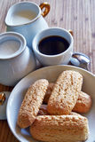 Breakfast at home. Have breakfast at home with coffee, milk and biscuits Stock Images