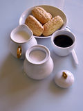 Breakfast at home. Have breakfast at home with coffee, milk and biscuits Royalty Free Stock Photo