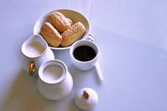 Breakfast at home. Have breakfast at home with coffee, milk and biscuits Stock Photos