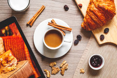 Breakfast at home on wooden table with cup of  coffee Stock Photo