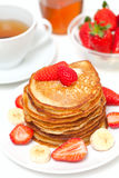 Breakfast at home with yummy buttermilk pancakes Stock Photos