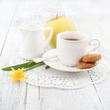 Breakfast with homemade cookies and apple, with cup of tea Stock Photography