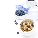 Breakfast with homemade granola, blueberries and black coffee  Stock Photo