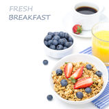 Breakfast with homemade granola and fresh berries, orange juice Royalty Free Stock Image