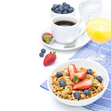 Breakfast with homemade granola and fresh berries, orange juice Royalty Free Stock Photography