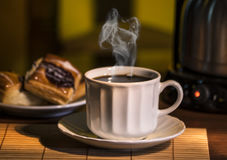 Breakfast. Hot coffee breakfast with masses Royalty Free Stock Photos