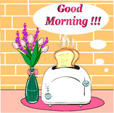 Breakfast with hot  toasts good morning. Vase of pink flowers on a background of brick wall Royalty Free Stock Image