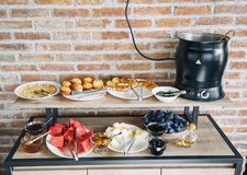 Breakfast at hotel. Breakfast on the system `All inclusive` . Breakfast buffet concept, Breakfast time in a luxury hotel. stock photography