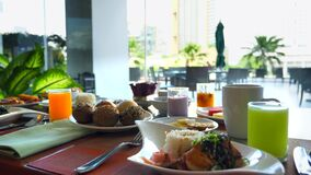 Breakfast at Hotel - Grilled Salmon, Fresh Pastry, Fruits, Coffee, Orange Juice