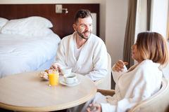 Breakfast in a hotel room Stock Images