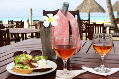 Breakfast at the hotel by the sea Stock Photo