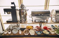 Breakfast at hotel. Breakfast on the system `All inclusive` . Breakfast buffet concept, Breakfast time in a luxury hotel. royalty free stock images
