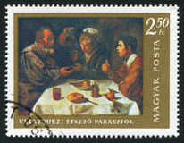 Breakfast. HUNGARY – CIRCA 1968: stamp printed by Hungary, shows The Breakfast, by Velasquez, circa 1968 Stock Photography
