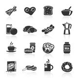 Breakfast icon black Stock Photos
