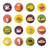 Breakfast icon flat Stock Photography