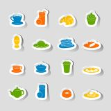 Breakfast icon sticker Royalty Free Stock Images