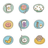 Breakfast Icons. Whimsical illustrations of breakfast foods. Food items can easily be removed from plates in file vector illustration
