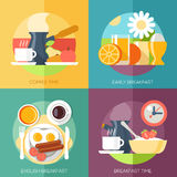 Breakfast icons flat set with coffee time corn Royalty Free Stock Photos