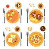 Breakfast icons flat set with four options of food. Sausages, omelette, pizza and toasts. Illustration in top view Royalty Free Stock Photo